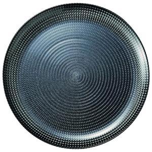 27cm ガラスプレート シルバーブラック ラウンドプレート Eclatエクラ 洋食器 ガラス 業務...
