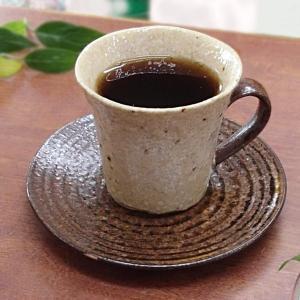コーヒーカップソーサー アメ釉 年輪 美濃焼 和陶器 カフェ...