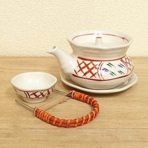 土瓶蒸し セット 手描赤絵 土瓶むし 和食器 業務用食器 美濃焼 6b267-14|shikisaionline