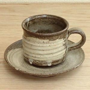 コーヒーカップ ソーサー 刷毛目 和陶器 おしゃれ 業務用 信楽焼 8y748-29-784|shikisaionline