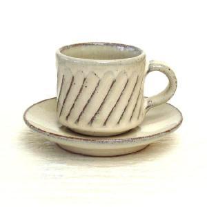 コーヒーカップ ソーサー 白釉スパイラル 和陶器 おしゃれ 信楽焼き 業務用 8y748-28-784|shikisaionline