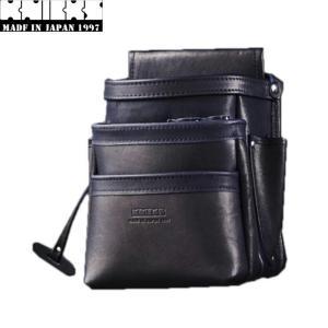 KNICKS ニックス KB-301DDSP 腰袋3段総グローブ革フチ/総グローブ革テープ巻ブラック ◆ shima-takatsuki