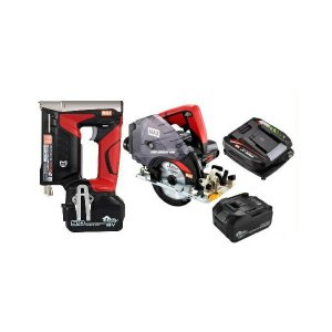 マックス 18V充電工具コンボセット T3ステープル用充電式タッカ[TG-Z4-BC/1850A]&充電式防じんマルノコ[PJ-CS53CDP]&18V(5.0Ah)電池パック[JP-L91850A]|shima-uji