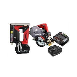 マックス 18V充電工具コンボセット T4ステープル用充電式タッカ[TG-ZB2-BC/1850A]&充電式防じんマルノコ[PJ-CS53CDP]&18V(5.0Ah)電池パック[JP-L91850A]|shima-uji