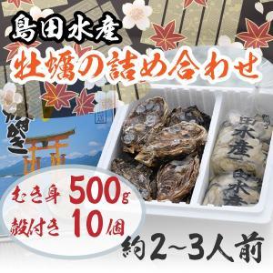 広島県産 島田水産 牡蠣詰め合せ むき身500g/殻付き10個|shimadasuisan