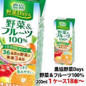 雪印メグミルク 農協野菜Days野菜&フルーツミックス 200ml 1ケース(18本)〜 shimamotoya