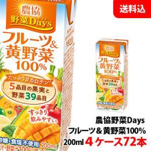 送料無料 雪印メグミルク 農協野菜Daysフルーツ&黄野菜ミックス 200ml 4ケース(72本) shimamotoya