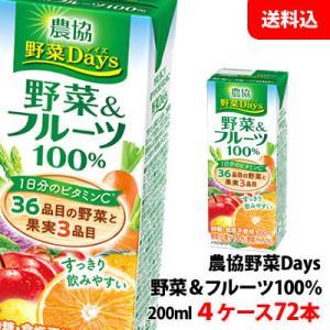 送料無料 雪印メグミルク 農協野菜Days野菜&フルーツミックス 200ml 4ケース(72本) shimamotoya