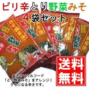 ピリ辛とり野菜みそ 200g 4袋セット まつや メール便 送料無料 鍋 味噌ラーメン とり野菜味噌 とり野菜