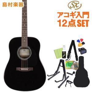 女性にもおすすめ アコースティックギター初心者セット 12点セット SX SD1-BK 〔オンラインストア限定〕|shimamura