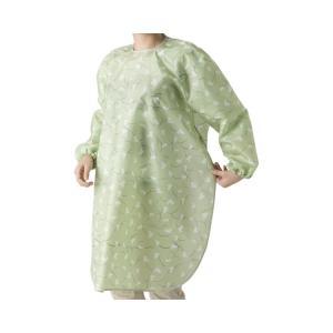 食事前掛(超はっ水) 袖付 和柄うさぎ(うぐいす) 1040 (特殊衣料) (食事用エプロン)|shimayamedical