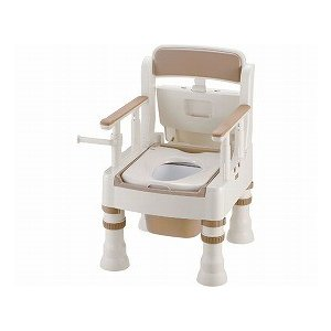 ポータブルトイレ きらく ミニでか 標準便座 MS型 アイボリー 45601 (リッチェル) (樹脂トイレ)|shimayamedical