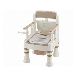 ポータブルトイレ きらく ミニでか やわらか便座 MY型 アイボリー 45611 (リッチェル) (樹脂トイレ)|shimayamedical