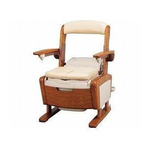 安寿 家具調トイレAR-1SA1 シャワピタ  はねあげL 533-814 (アロン化成) (木製トイレ)|shimayamedical