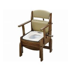 木製トイレ きらくコンパクト 普通便座 18510 (リッチェル) (木製トイレ)|shimayamedical