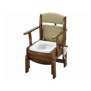 木製トイレ きらくコンパクト 暖房便座 18530 (リッチェル) (木製トイレ)|shimayamedical