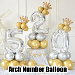誕生日 数字 アーチ バルーン 風船 自立式 数字 ゴールド シルバー イベント ナンバー ゴールド シルバー パーティー|shimi-store