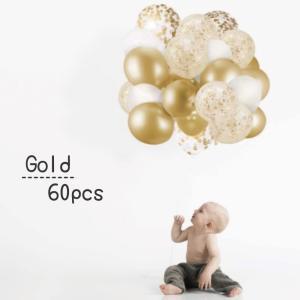 Balloon4種類 たっぷり60個【バルーン ピンクゴールド ゴールド Gold スパンコール 風...