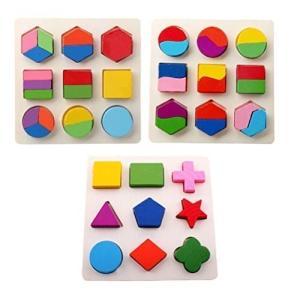 木のおもちゃ 幾何認知 形合わせ 積み木 型はめ パズル 幼児 知育玩具 3点セット shimi-store