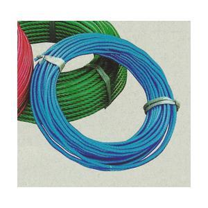 ビニール被覆ワイヤーロープ (青透明色) 6×7 4mm-6mm(200m巻)|shimizu-kanamono