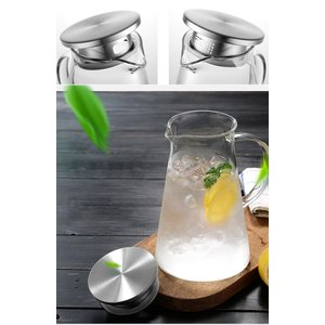 susteas 耐熱 ガラスポット 麦茶ポット 直火 対応 2.0リットル ステンレス蓋 麦茶 冷蔵...