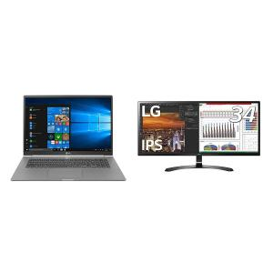 LG ウルトラワイドモニター 34UM59-P 34インチ+ LG gramノートパソコン17インチ17Z990-VA76Jセット|shimizunet004