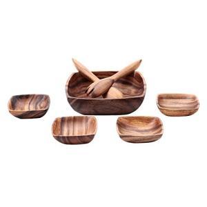 不二貿易 ボウル スプーン フォーク6点セット ブラウン アカシア 天然木 割れにくい 軽量 木製 ...