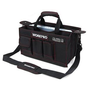 WORKPRO 工具バッグ375mm ツールバッグ 三つ割れ工具袋 透明収納ケース付き ワイドオープ...