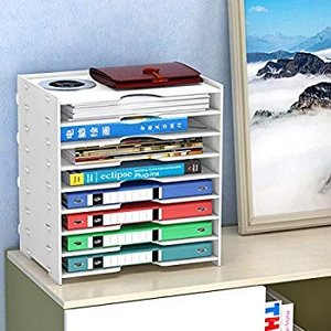 Rerii 書類ケース レターケース 8段 浅型 書類棚 キューブボックス 書類整理 ファイル 木製 ホワイト 幅36×26×39cm A4|shimizunet004