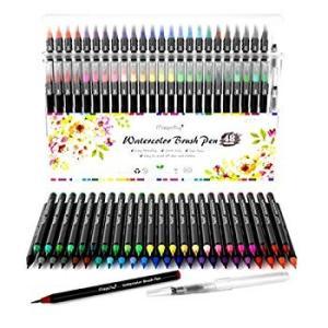 Magicfly 水彩毛筆 カラー筆ペン 48色セット (水性 筆ペン 美術用) 収納ケース付き|shimizunet004