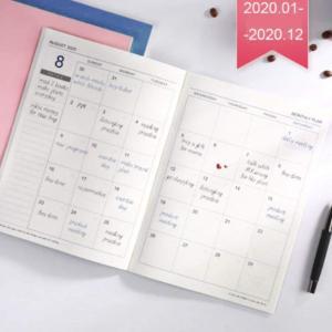 2020スケジュール帳 システム手帳 2020年1月始まり マンスリーブロック 月間ノート週間計画ノート 軽量 手帳 おしゃれ ダイアリー|shimizunet004
