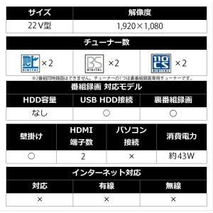 シャープ 22V型 液晶 テレビ AQUOS 2T-C22ADB フルハイビジョン 外付HDD対応(裏番組録画) ブラック 2018年モデル|shimizusyouten01