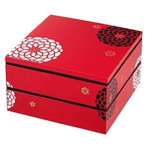 日本製 HAKOYA たつみや 19.5角二段オードブル重 赤 百華 54274