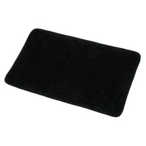 屋内用 玄関マット キッチンマット 滑り止め付き 洗える マット シャギーラグ 〔50×80cm〕 ブラック|shimizusyouten01