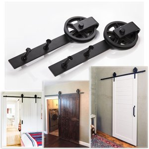 HomeDeco Hardware アウトドアトラック レール金具セット 室内ドア 片引き戸 6.6 FT (2.00メートル) シングルド|shimizusyouten01