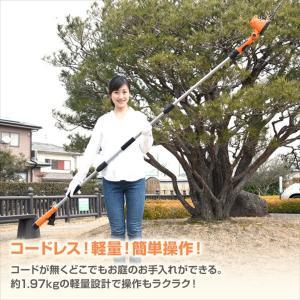 山善 10.8V 充電式 ガーデンポールトリマー 高枝ヘッジトリマー LPH-1025OR|shimizusyouten01