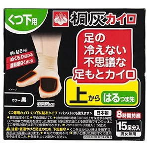 桐灰化学 足の冷えない不思議な足もとカイロ 上からはるつま先 黒 15足|shimizusyouten01