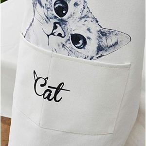 Akiraki エプロン H型 女性用 レディース メンズ 男女兼用 カフェエプロン キッチンエプロン シンプル ホワイト 白 猫柄 おもし|shimizusyouten01