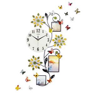 欧式 ファッション アイアン 掛け時計 壁時計 木の葉 花 植物 数字時計 フォトフレーム デザイン 可愛い おしゃれ 壁掛け 電池式 イン|shimizusyouten01