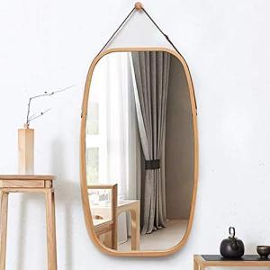 SoBuy 全身鏡 姿見 ミラー 壁掛け ウォールミラー 竹製 化粧 円型 鏡 飾り/北欧/オシャレ 玄関かがみ/かがみ/鏡 全身(BZR1|shimizusyouten01