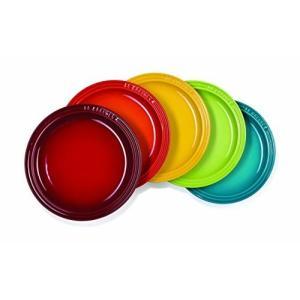 ル・クルーゼ(Le Creuset)  皿 ラウンド・プレート LC 23 cm レインボー 耐熱 耐冷 電子レンジ オーブン 対応 5枚 入|shimoyana