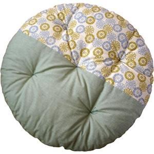 高岡 せんべい座布団 ツートンカラー/フローラルグリーン×裏葉色 100×100cm