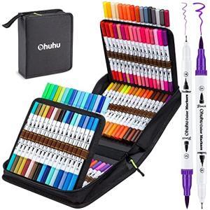 Ohuhu アートマーカーペン 100色 筆先 水彩ペン 水性 ふでタイプ ふで・極細 ブラッシュ 鮮やか イラスト 手帳 shimoyana
