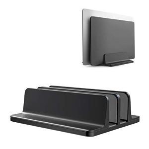 ノートパソコン スタンド PCスタンド 縦置き 2台収納 ホルダー幅調整可能 アルミ合金素材 OBE...