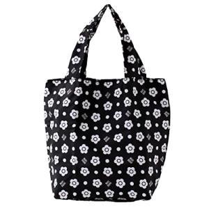 マリークヮント エコバッグ/マイバッグ ラージサイズ (ブラック) 花柄 デイジー 婦人 マリークワント/マリク|shimoyana