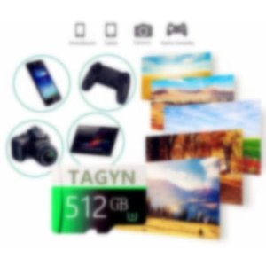 TAGYN マイクロSDメモリーカード 512GB 超高速Class10 + SDカードアダプ (J3G-Q7) (512GB) shimoyana
