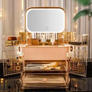 YTOPRO メイクボックス LED鏡付き 大容量 コスメボックス 化粧品収納ボックス 防水防塵 明るさ調整可 引き出し shimoyana