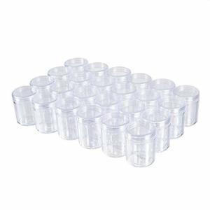 BENECREAT 24個セット35mlアクセサリー透明収納ボックス 化粧品用小分けケース 蓋つき 丸型 ビーズ アクセサリー|shimoyana