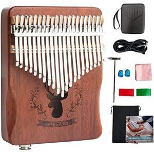 カリンバ 楽器 Kalimba 21 キー 親指ピアノ ピックアップ付き 初心者 に適用 (EVA高性能保護ケース/クロス/指サッ|shimoyana