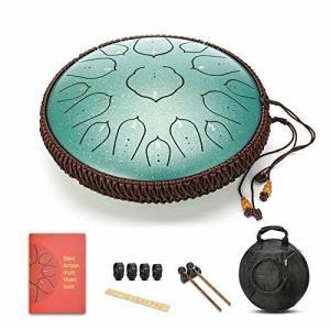 QCSTORE  タングドラム スリットドラム スチールタンドラム 金属ドラム Dメージャー 14インチ15音 ハンドドラム|shimoyana